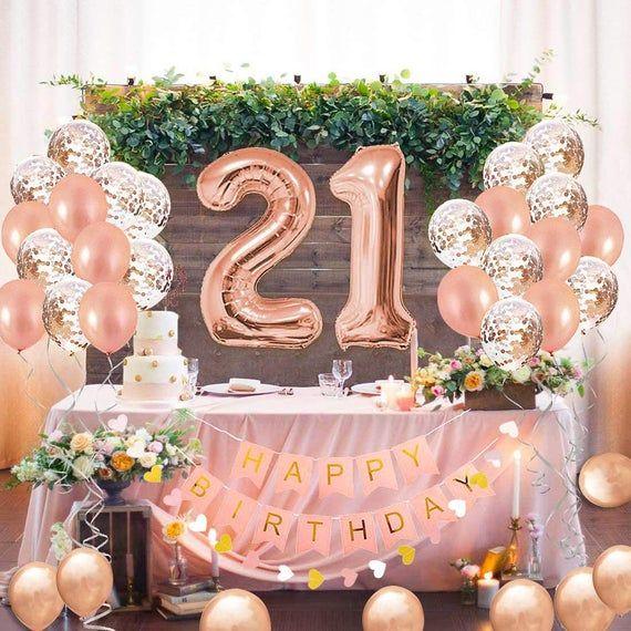 21st Birthday Decorations Rose Gold Twenty First Party Etsy In 2021 21st Birthday Balloons 21st Birthday Girl 21st Birthday Decorations