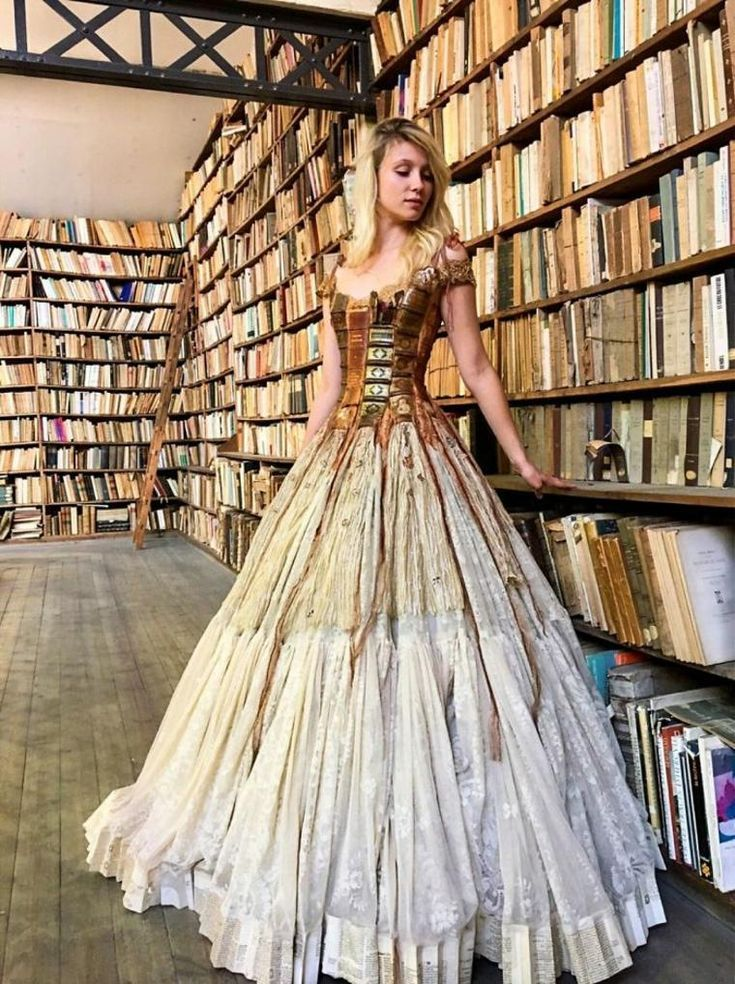 Library inspired gown
