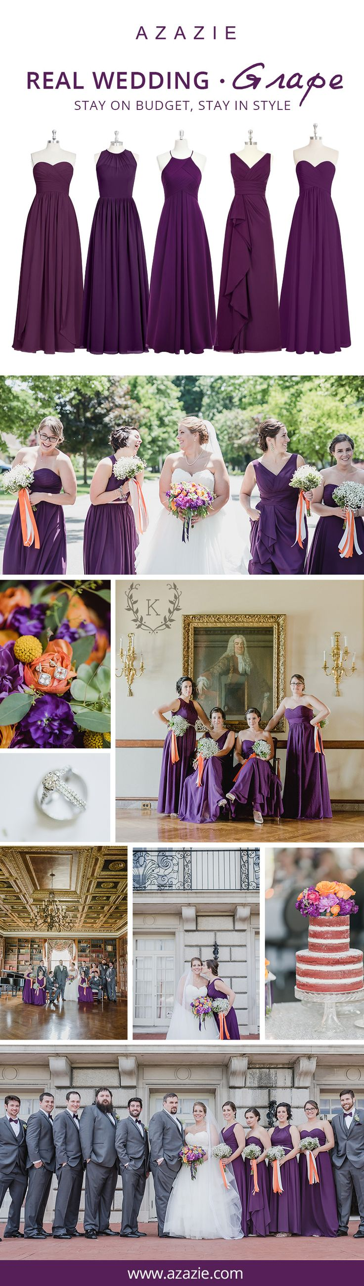 The epitome of romance and just like a fine wine, Grape is one of the most popular colors this Fall season. Get inspiration for your Autumn wedding with this glamorous Grape color for your bridesmaids. Even better let your girls choose from over 150 styles and mix-and-match, all for $150 per gown or less!| Photos courtesy of karidawson.com