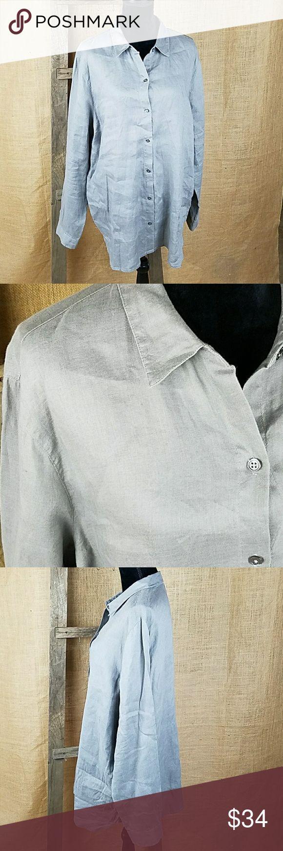 """J. Jill women's XLT button down long sleeve shirt J. Jill women's XLT button down long sleeve shirt 100% linen gray.  Under arm to under arm: 26"""" Sleeve length: 26"""" Back up down: 31"""" J. Jill Tops Button Down Shirts"""