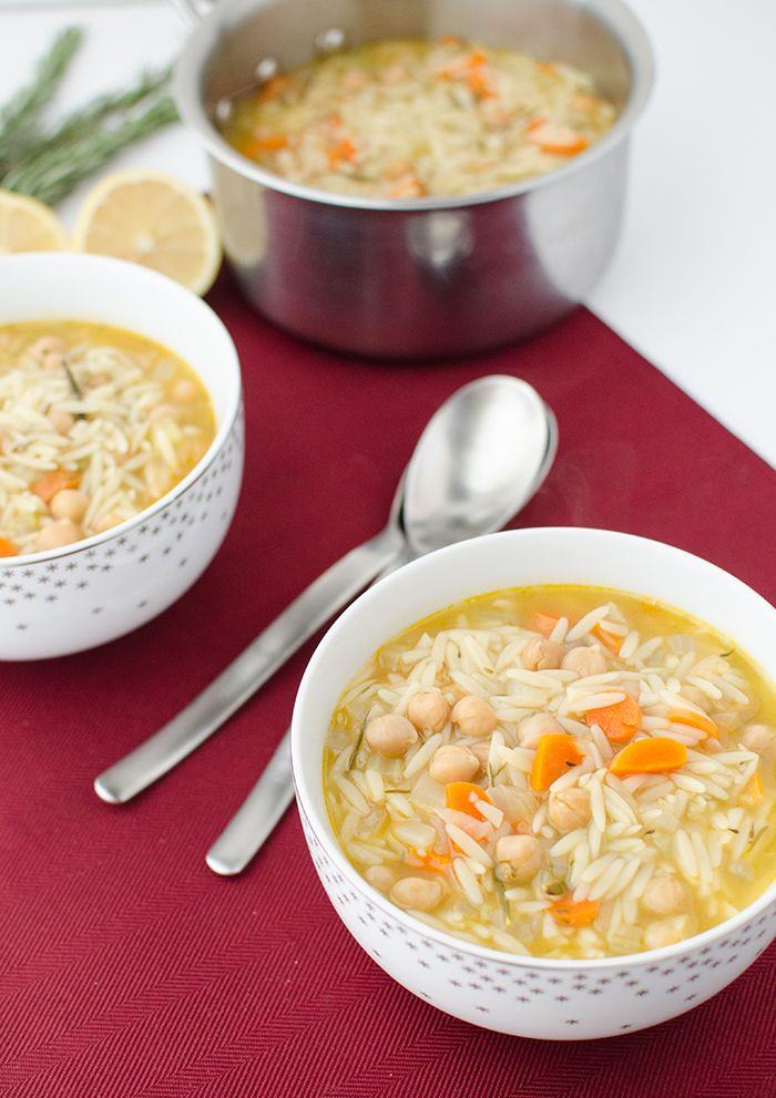 Vegetable & garbanzo bean soup with orzo pasta | #vegan and could be made #glutenfree with rice or corn pasta | delishknowledge.com