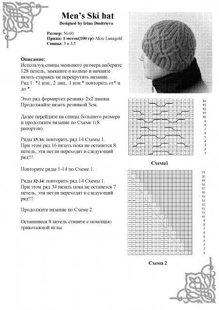 Серая мужская шапка спицами. Схемы и описание