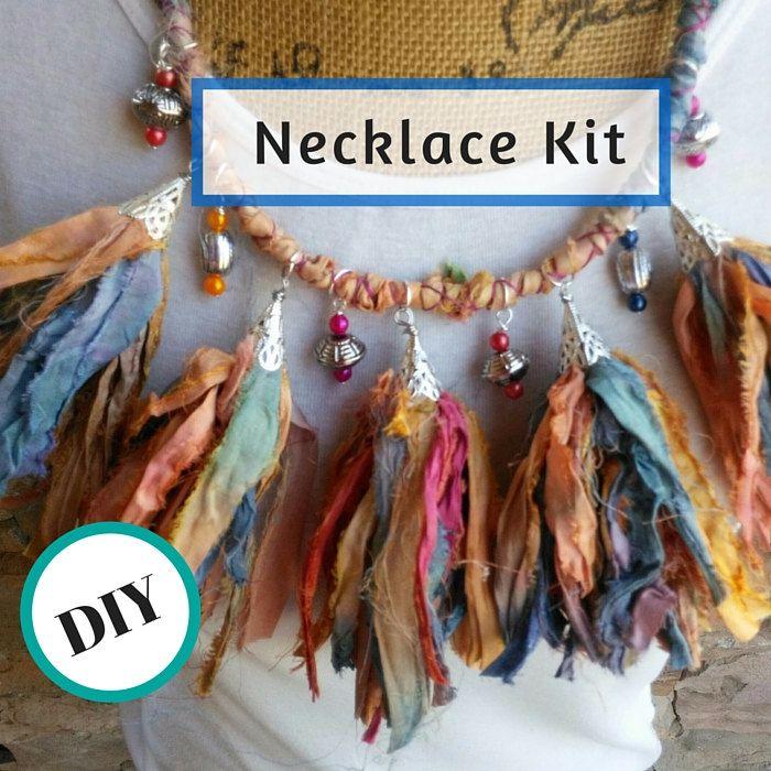 Sari Ribbon Tassel Beading Statement Necklace Making Kit DIY! by BestBeadedBling on Etsy