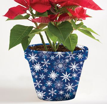 "8 Inch Holiday Flower Pot Cover - 8"" Blue Snowflake Pot Sox #holidaygift…"