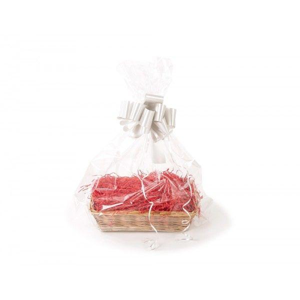 Mayfair Basket (Christmas Gift Kit) Red Shred, Silver Bow