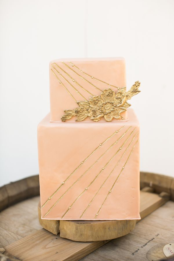 Harvest engagement shoot, peach gold wedding cake wood stump stand