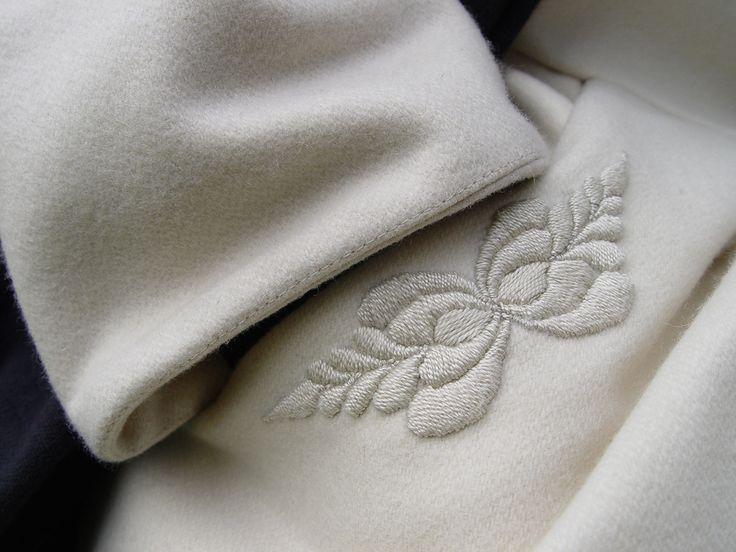 Handmade embroidery on wool coat from Salamás #ILLANGO #embroidery #coat