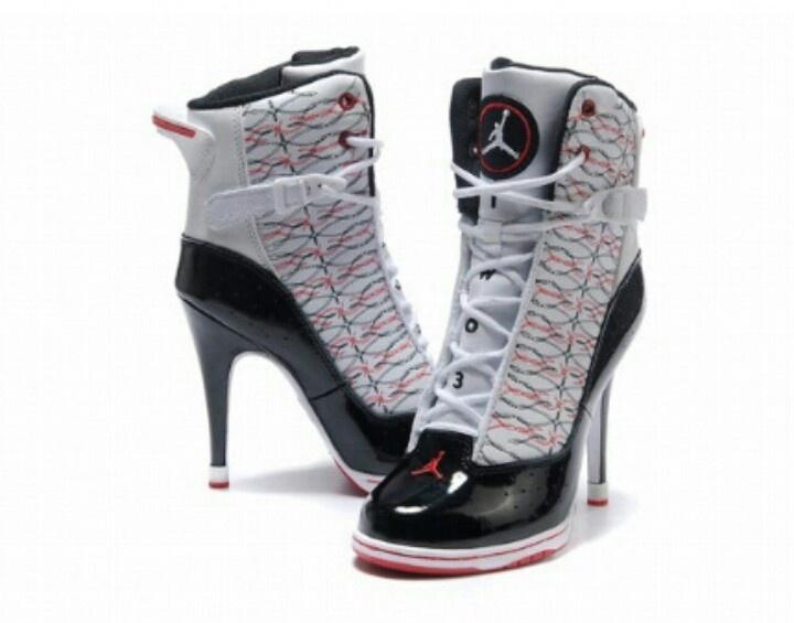 Air Jordan Heels in White & Black