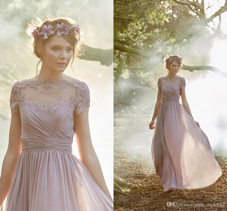 100 Real Image Dusty Pink Bridesmaid Dresses Pleated Chiffon Short Sleeves Boho Gowns Wedding Guest