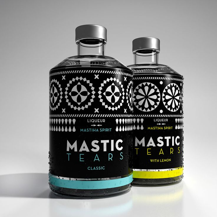 Dolphins // Communication design create liqueur package design of authentic mastic. Classic & Lemon. Design inspired by the black and white geometric decoration on the building facades of Chios mastic villages, such as Pyrgi.