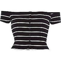 Black stripe ribbed bardot top