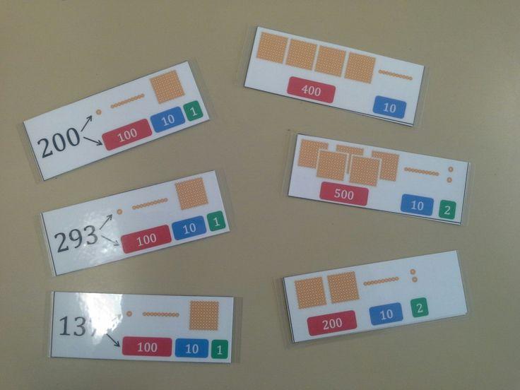 Página donde se pueden descargar distintas tarjetas con actividades que trabajan la descomposición de los números en unidades, decenas y centenas. Algunas de ellas utilizando Base 10 y Sellos Montessori necesarias para formar el número. #Base10 #sellos_montessori #estampillas