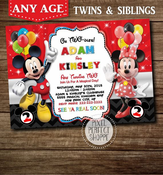 Mickey Mouse And Minnie Mouse Birthday Invitation For Boys
