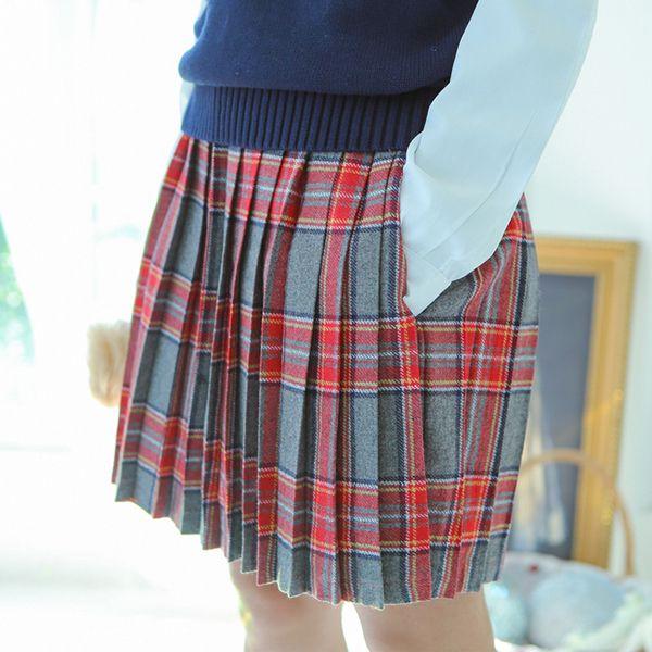 1+2原创秋冬JK日系校园学生制服裙短裙女可爱半身裙子 毛呢百褶裙