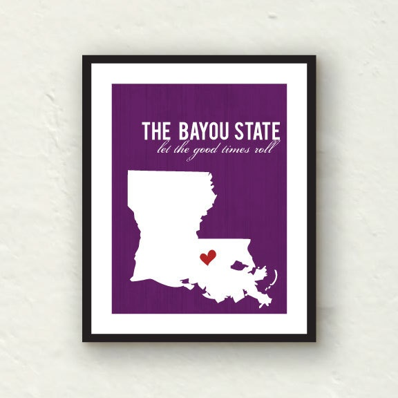 READY TO SHIP Louisiana art - Let the good times roll - State print home decor - purple decor - 8x10 graphic print
