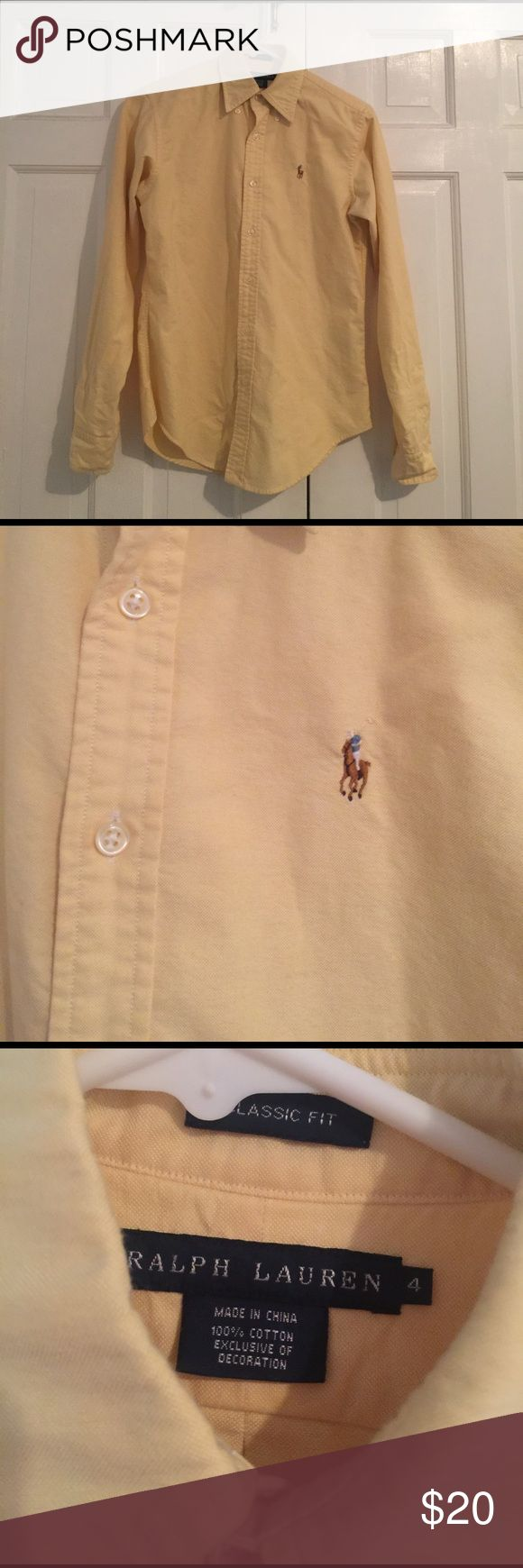 Ralph Lauren oxford - size 4 - yellow Classic Fit Ralph Lauren Classic Fit button-down oxford shirt. Women's. Size 4. Yellow. Ralph Lauren Tops Button Down Shirts
