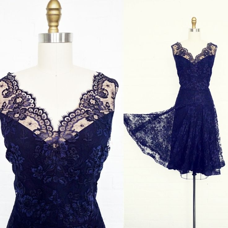 vintage 1940's sapphire lace party dress. Positively stunning vintage 1940's sapphire blue lace party dress with a fetching 20's silhouette. Nude organza-lined illusion lace neckline, scalloped lace waist overlay, subtly flared skirt. Full rayon lining, side metal zipper. Exquisitely constructed. || Bitter Root Vintage