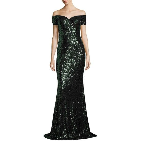 Badgley Mischka Off-The-Shoulder Sequin Gown (670 AUD) ❤ liked on Polyvore featuring dresses, gowns, apparel & accessories, sequin evening dresses, sequin gown, short sleeve sequin dress, off the shoulder evening dresses and badgley mischka gowns
