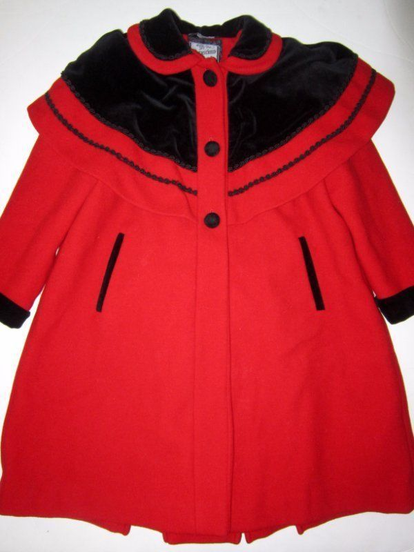 Rothschild Red Wool Coat Dress Winter Black Velvet Capelet Girls Size 6  | eBay