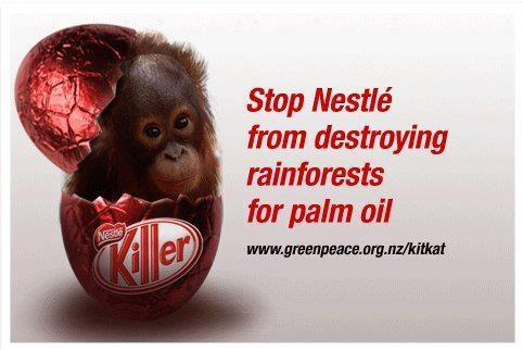 With Easter coming, let's get as many folk to boycott Nestle as possible > their over-farming for Palm Oil is killing wildlife, including endangered species and some of our closest relatives, as well as devastating local food production for local people