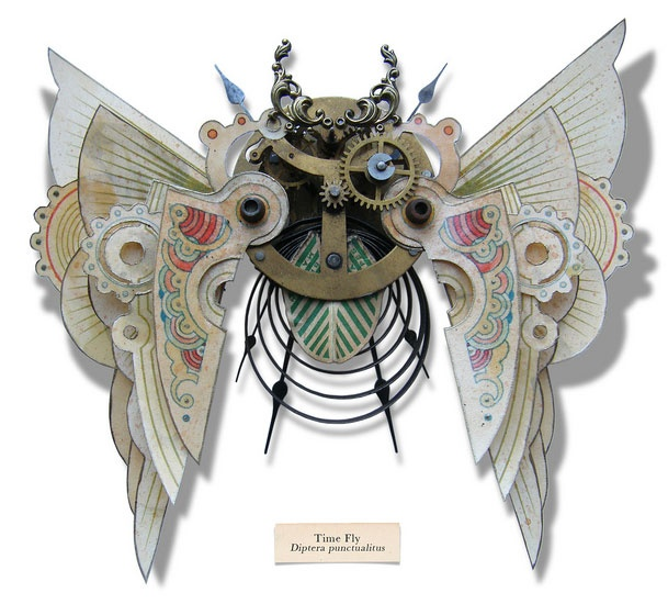 Time fly - The Litter Bug Series, Found Object Insect Sculptures by Mark Oliver