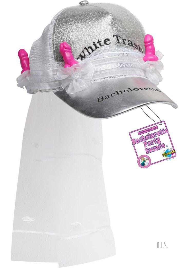 White Trash Hat - (disc) White Trash Bachelorette Trucker Cap w/ Veil.