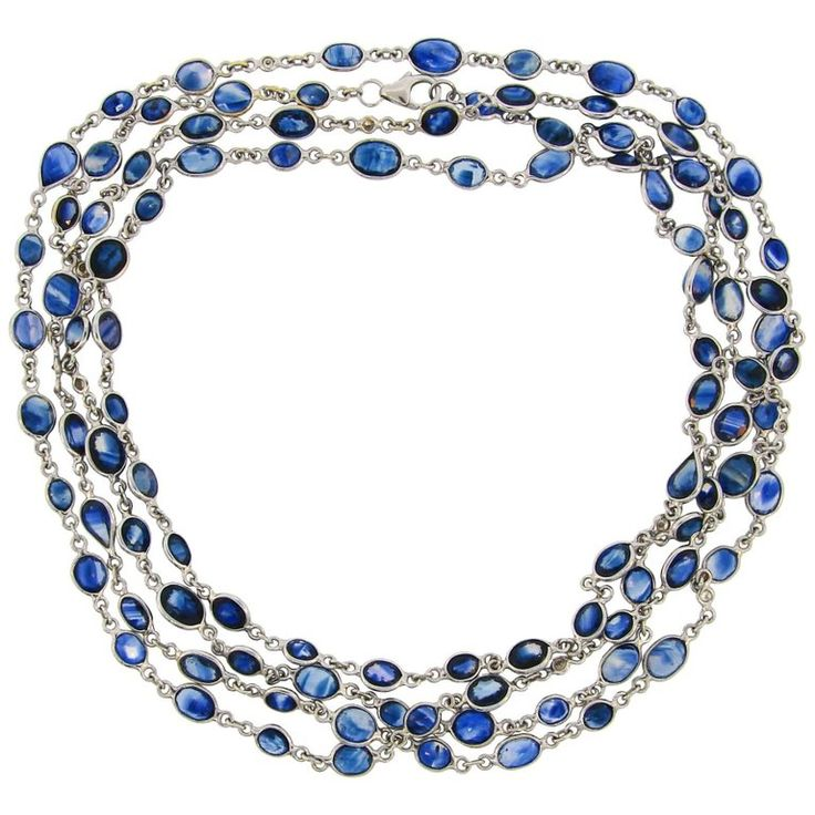 Sapphire Diamond by the Yard White Gold Chain Necklace   From a unique collection of vintage more necklaces at https://www.1stdibs.com/jewelry/necklaces/more-necklaces/