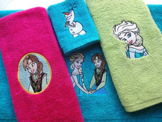 Anna and Elsa, girls bathroom, towels, personalized towels, Frozen Bath  towels, ice princess, frozen, girls gift - 42 Best Frozen Bathroom Images On Pinterest