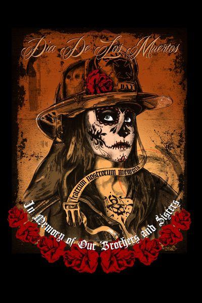 Dia de los Muertos Classic Fire T-Shirt- Black Helmet Firefighter Apparel