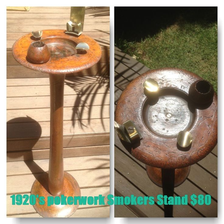 For Sale : 1924 Wooden Pokerwork tall Smokers Stand with brass fittings & hand carvings $80 or best offer pickup Sydney vintage collectable tobacciana woodwork cigarette smoking collectable home decor