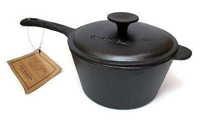 New Old Mountain Cast Iron Pre Seasoned 2qt. Sauce Pan & Lid W/ Hot Mitt