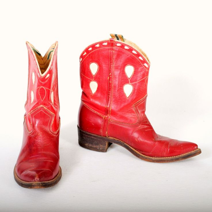 Vintage cowboy boots womens red are shorties with fancy, inlaid uppers with white teardrops, white stitching and piping, multi-color pulls are all in tact. $325 luckystargallery.com