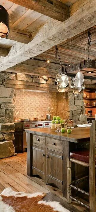 Love the stone alcove for the stove