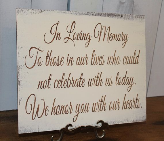 In Loving Memory/Memorial Sign/U Choose Colors/Great Shower Gift/Brown/Ivory