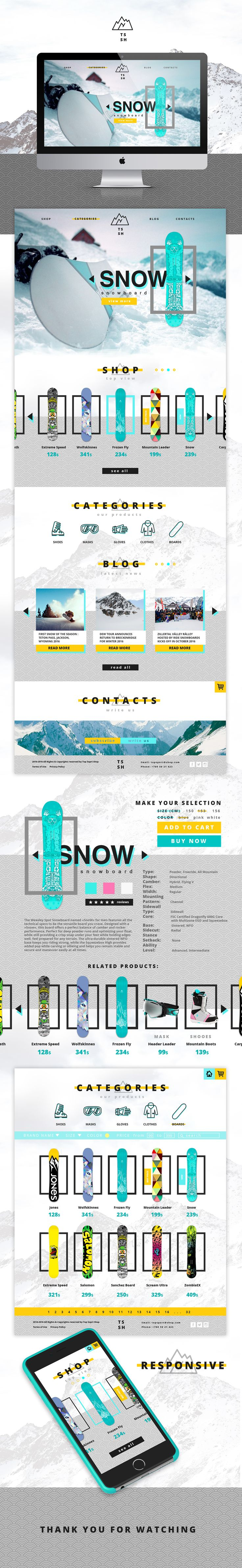 """This Website was created for snowboarding online-shop """"Top Sport Shop""""."""