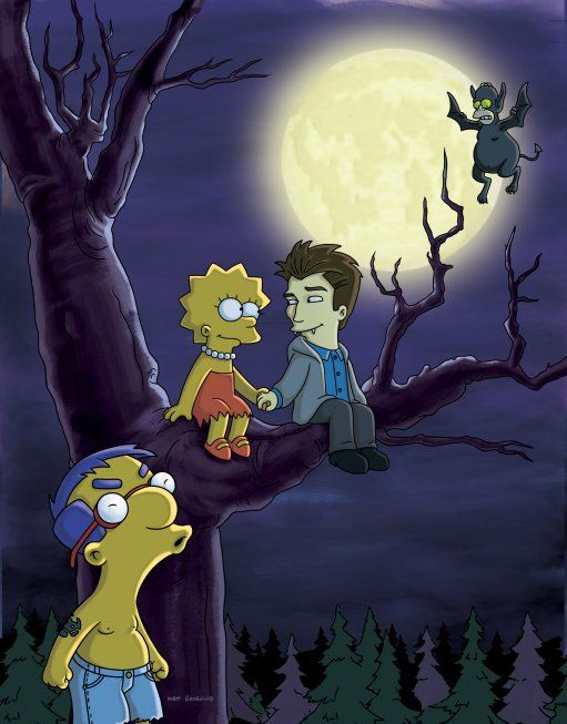 Lisa Simpson in love with Daniel Radcliffe as Edward Cullen as Homer/Bat chaperones...and Milhouse will never get a chance in The Simpsons, lol