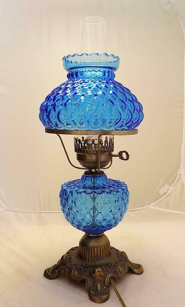 Blue Glass Hurricane Lamp Electric With, Blue Glass Hurricane Lamp