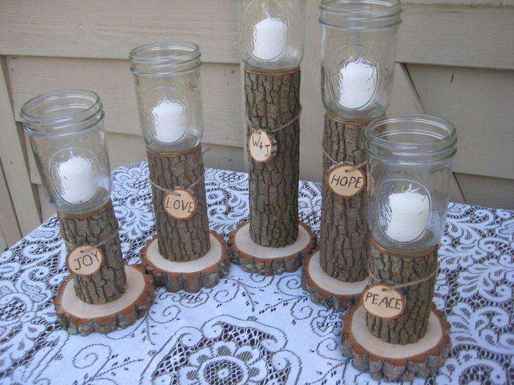 Rustic wedding decor mason jars log candle holders