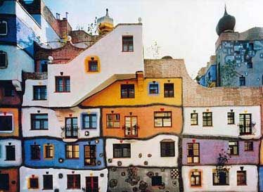 Hundertwasser Haus in Vienna, Austria; a colorblocked exterior, but a little too colorful for our house.