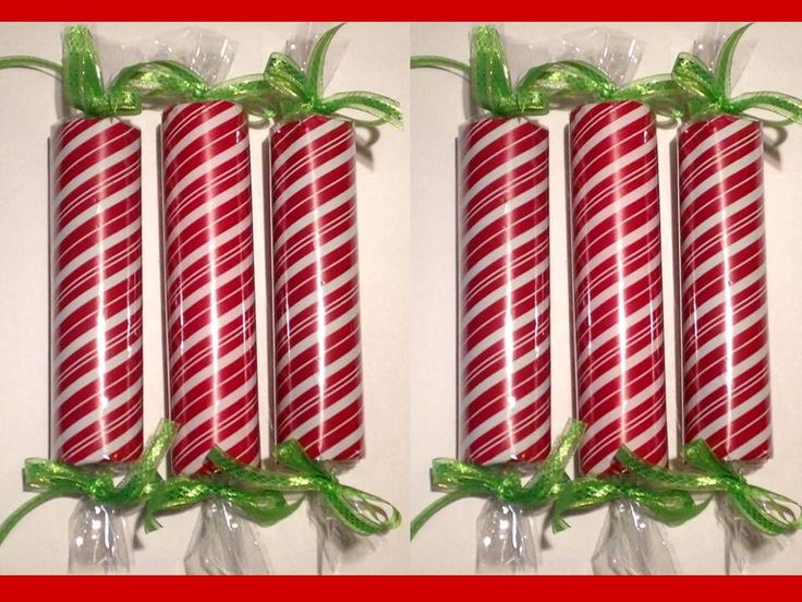 Large, faux CHRISTMAS CANDY Decorations. This uses pool noodles. Could use paper towel rolls or toilet paper rolls for smaller ones.