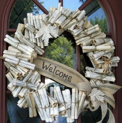 Weeded paperback book page wreath for library door decor. this would also be cute with sheet music for the music lover!
