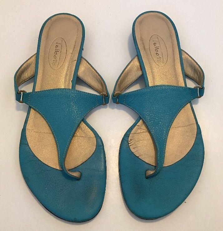 Women's TALBOTS Blue Leather Thing Sandals Slip On Flip Flops Sz 6.5 Kitten Heel  | eBay