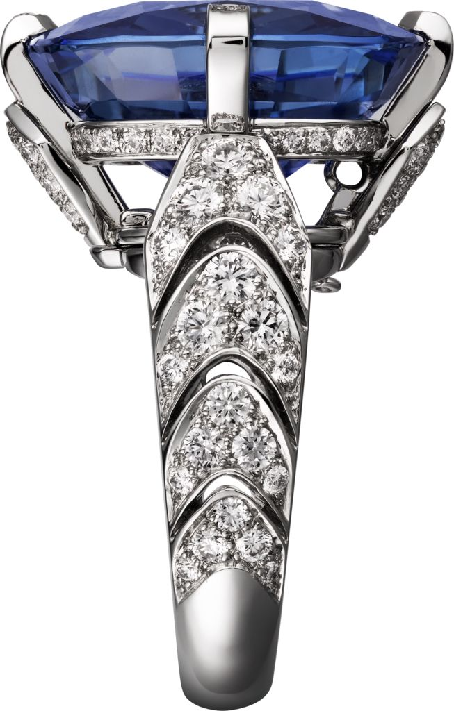 "CARTIER. ""Incantation"" Ring - platinum, one 22.84-carat cushion-shaped sapphire from Ceylon, brilliant-cut diamonds. The sapphire can be worn as a ring or necklace. #Cartier #CartierMagicien #HauteJoaillerie #FineJewelry #Diamond #Sapphire"