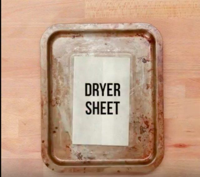 dryer sheet in pan