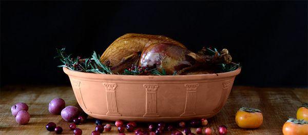Romertopf Turkey Clay Baker - Terracotta baker with glazed bottom for roasting meats and