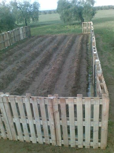 pallets garden fence/ perfect for chicken coop fence & moat...also a lot more in this post for pallet ideas!!