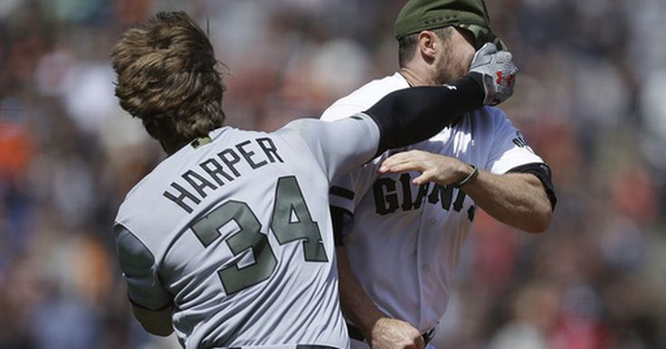 SAN FRANCISCO (AP) Giants reliever Hunter Strickland received a six-game suspension Tuesday and Washington's Bryce Harper was penalized four games for their roles in a benches-clearing brawl at AT&T Park a day earlier. Each also was fined an undisclosed amount, Major League Baseball...
