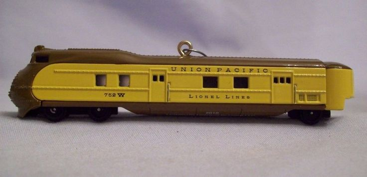Hallmark Keepsake Lionel Train Series #15 Union Pacific Steamliner Locomotive 2010 Measures 4 1/4 in long .  The back of each box has a little informational story about the train. Metal and handcrafted will last for years.