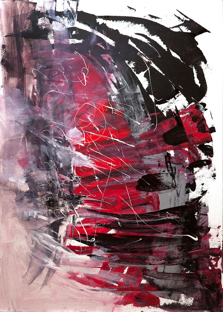 by Nora Jane. 70x100 cm (27x40 in) #art #abstract #painting #red #black