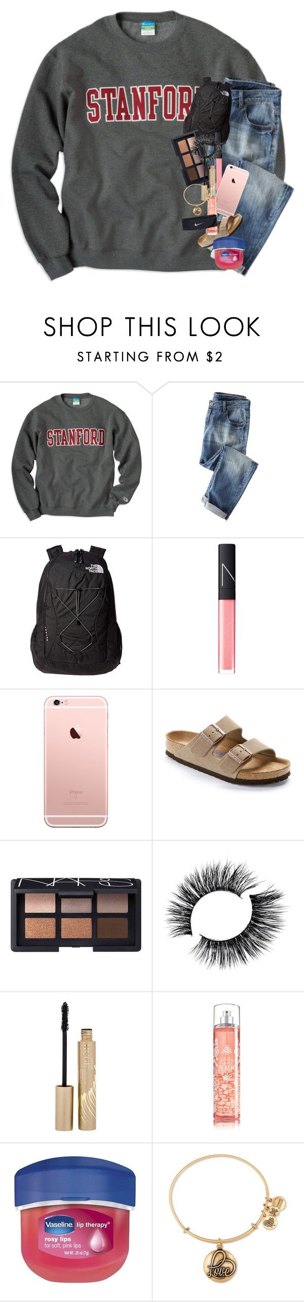 """holy inactivity  ((sorry!!!! i just started school this week))"" by kendallmichele ❤ liked on Polyvore featuring The North Face, NARS Cosmetics, Birkenstock, Stila, Therapy, Alex and Ani and NIKE"
